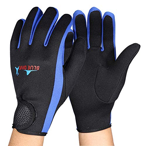 Guantes de buceo de 3 colores de 1.5 mm, guantes de neopreno de doble revestimiento impermeables para buceo, snorkel, kayak, surf y otros deportes acuáticos para hombres y mujeres(Black Blue M)