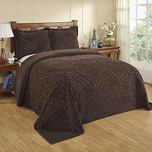 Better Trends Rio Collection Tagesdecke, 100 prozent Baumwolle, getuftet, Chenille, für King-Size-Bett, Schokoladenbraun