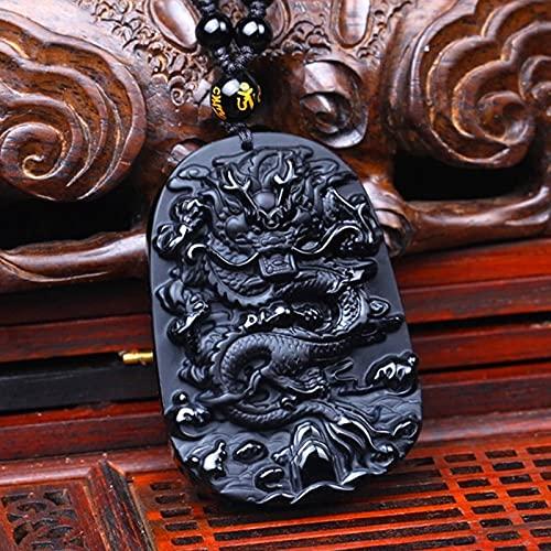 YUNHE Colgante de Piedra Negra Natural de Estilo Chino con Collar de Cuentas, joyería de Amuleto de dragón del Zodiaco Tallado clásico para Hombre