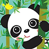 Colour Talk DIY Oil Painting, Paint by Number Kits for Kids - Baby Panda 8'x8' (Framed Canvas)