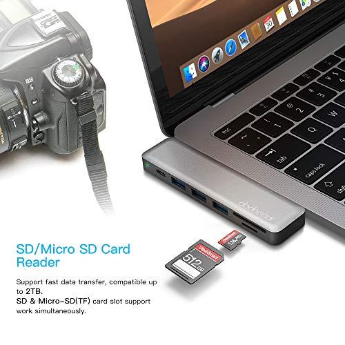 dodocool USB C Hub, MacBook Pro Adapter HDMI 4K, SD/Micro SD-Kartenleser, 3 USB 3.0 Ports, Thunderbolt 3-Aufladung, USB-C Adapter für MacBook Pro 2018/2019/2017/2016, MacBook Air 2018/2019, Spacegrau