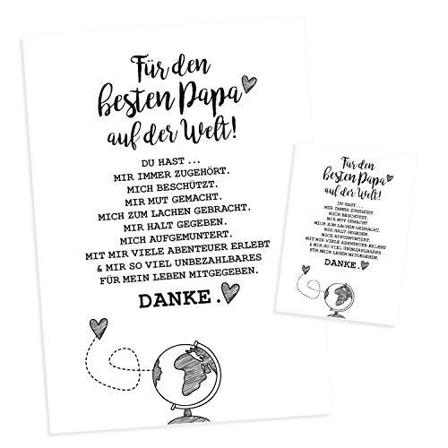 Für den besten Papa der Welt I DIN A4 Poster und Postkarte im Set I Geschenk-Idee zum Geburtstag Vatertag I Danke sagen I in schwarz weiß I dv_444