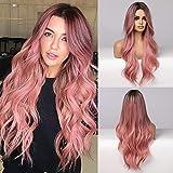 EMMOR Peluca larga rosa para mujer, pelo sintético natural, raíz oscura, parte media, pelucas rizadas Ombre, uso diario para fiestas, cosplay (2 gorro de peluca gratis)