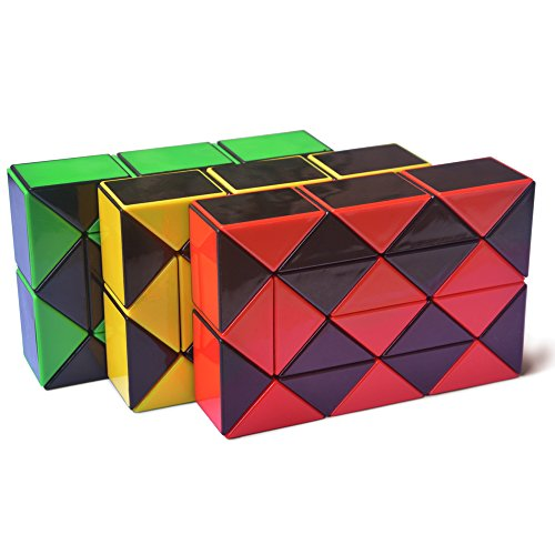 Yescube Magic Snake Twist Puzzle Twisty Snake Ruler Stickerless Puzzle Snake Cube Toy Collection( 3 Pieces on Pack )