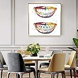 PLWCVERS Huellas de Dientes Laugh out Loud Dental Wall Art Canvas Painting Posters Dentista Regalo Higienista Oficina Clínica Decoración de la habitación Decoración de la Pared / 60x60cm (Sin Marco)