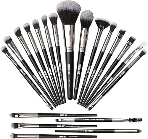 Pinceles de maquillaje 20Pcs Set de pinceles de maquillaje Pinceles de maquillaje profesional Cepillo de base sintética Premium Set de pinceles de maquillaje de ojos suaves-Negro Plata