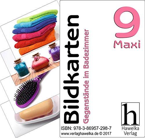 Bildkarten 9 -Maxi- Gegenstände im Badezimmer - (Fotokarten in Postkartengröße / etwas schmaler) - ideal in der Altenpflege, Geriatrie und Heimbetreuung, Biografiearbeit, Sprachförderung