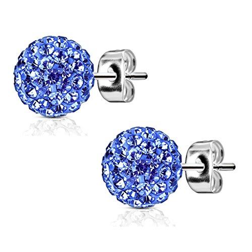 Bungsa large Earrings 9mm blue Shamballa crystal Ear-studs Stainless Steel for Women & Men