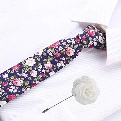 VGYUAS Corbata Corbatas De Corbata Y Broche De Tela Escocesa para Hombre De Algodón De 6,5 Cm para Corbatas De Boda