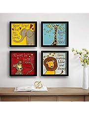 SAF Set of 4 Animal Design Motivational UV Coated Home Decorative Gift Item Framed Painting 19 inch X 19 inch