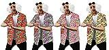 Juego de disfraz de perro futuro para adultos – camiseta de HAWAIIAN azul, peluca y gafas negras – profesor loco científico loco perfecto para cualquier película de fiesta de disfraces