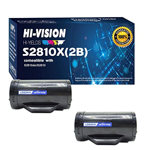 HI-Vision 2 Pack Compatible S2810X High Yield (6,000 Pages, 593-BBMF) Black Toner Cartridge Replacement for H815dw S2810dn S2815dn Printers
