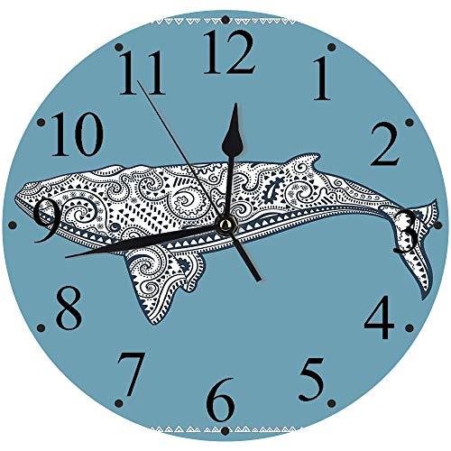 Yaoni Silencioso Wall Clock Decoración de hogar de Reloj de Redondo,Náutico, pez Ballena étnico con símbolo de tótem y Kitsch Antiguo patrón de Paisley, Azul p,para Hogar, Sala de Estar, el Aula