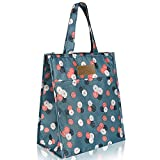 Cute Insulated Lunch Bags for Women Small Lunch Box Tote Bag for Ladies Female Adult with Zipper & Pocket for Work Picnic Travel Gift (Small Flower - Blue)