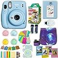 Fujifilm Instax Mini 11 Blue Camera + Fuji Instant Instax Film (20 Sheets) Includes Galaxy Camera Case + Assorted Frames + Photo Album + 4 Color Filters and More Top Accessories Bundle (Sky Blue)