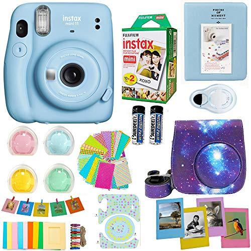 Fujifilm Instax Mini 11 Camera + Fuji Instant Instax Film (20 Sheets) Includes 4 Color Filters and More Top Accessories Bundle (Sky Blue)