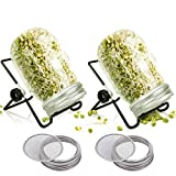 2 Pack Mason Jar Sprouting Kit, Seeds Germination Growing Kit with Stainless Steel Mesh Lids and Stands, Wide Mouth Jars Germinator, Indoor Sprouter Set for Broccoli Alfalfa Beans Microgreens Sprouts