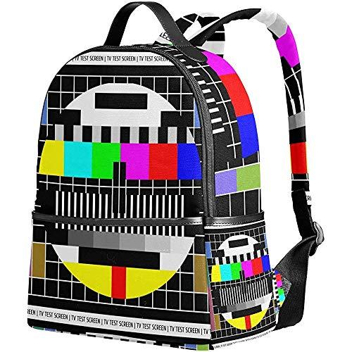 Schulrucksack,Test Tv-Bildschirm Umhängetasche Bookbag Premium Studentenrucksäcke Für Sportreisen Im Freien 37Cm(H) X30.5Cm(W)