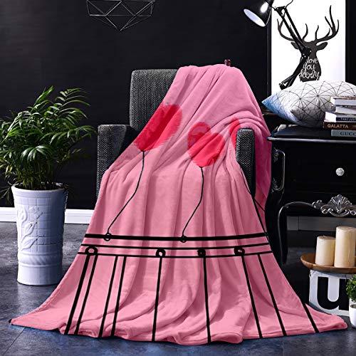 Only Comfort Manta de franela para el día de San Valentín, 127 x 152 cm, acogedora manta de felpa mullida para cama, sofá, silla, sala de estar, globos en forma de corazón rosa