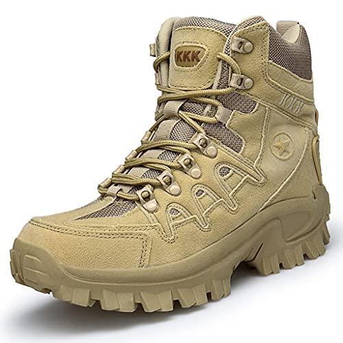 YUHAI Botas tácticas Hombre Militar Zip, Velor Doble Velor Resistente al Alojamiento Resistente al Montañismo Offroad Stakets,Sand-46(UK 12)