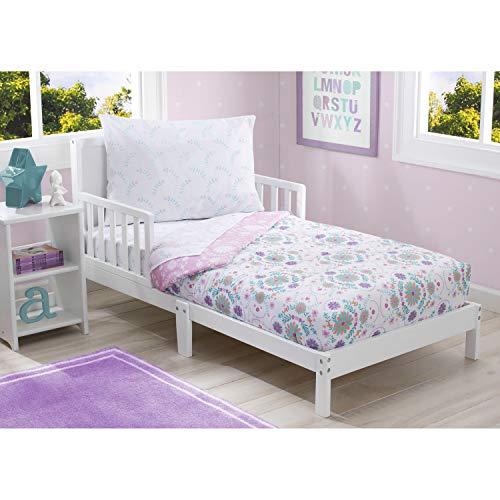 Delta Children Juego de ropa de cama para niñas | Colección de 4 piezas | Sábana bajera, sábana encimera plana con parte inferior...