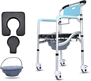 Asdfnfa Elderly Toilet Seat with Wheels Foldable All-Aluminum Waterproof Non-Slip Reinforcement High Load Capacity