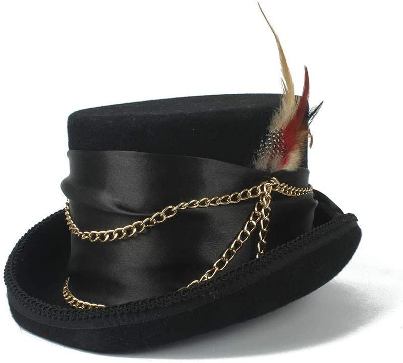 HHHCM-US Women'sFeather Metal Chain Top Hat Ladies Wool Fedora Magician Party Hat 4Size S M L XL 13.5 cm (5.3 Inch) (Color : Black, Size : 55cm)