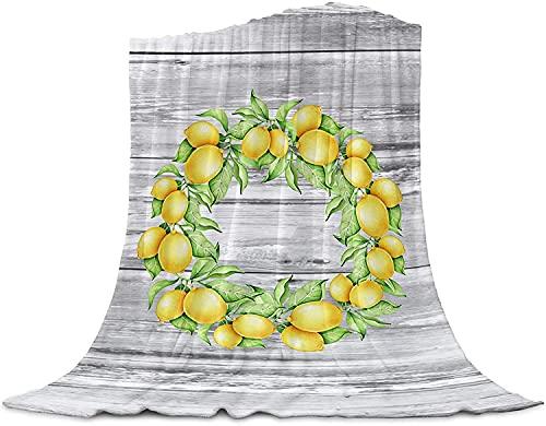 Rústico de Limón Corona Fresca en Verano Tirar de la Manta de Franela Manta de Lana, Manta Liviana para Las Mujeres Adultas Niña, Bebé de la Microfibra de la Siesta Manta para el Sofá, la,40'x50'