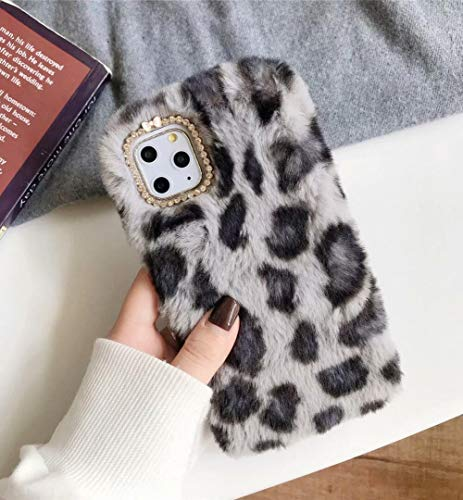 Losin Plüsch Hülle Kompatibel mit Apple iPhone 11 Pro Max 6,5 Zoll Mode Cute Fuzzy Pelz Winter Kaninchen Haar Warm Plüsch Flauschig Fell Leopard Gepard Muster Weich TPU Hülle