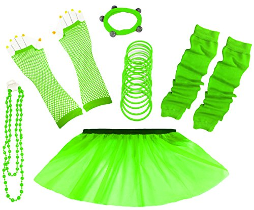 A-Express 80er Damen Neon Tütü Rock Ebene Beinstulpen Handschuhe Halskette Tüll Fluo Ballett Verkleidung Party Tutu Rock Kostüm Set (46-54, Grün)