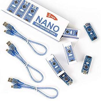 REXQualis Nano V3.0 3pcs Nano Board CH340 / ATmega328P with USB Cable Compatible with Arduino Nano V3.0  Nano x 3 with 3 Cable