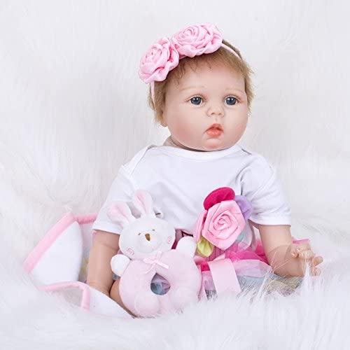 QXMEI Reborn Puppe Spielzeug Puppe Simulation 55cm Kinder Spielzeug Blaue Augen,55cm