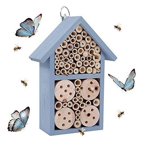 Nwvuop Casetta per insetti da giardino, casetta per api in legno, 23 × 12 × 7,5 cm