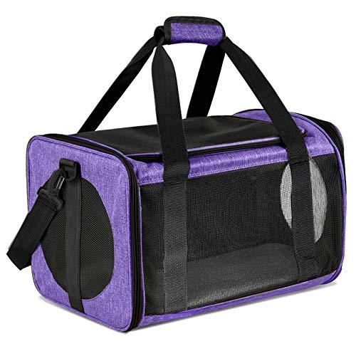 Moyeno Cat Carriers Dog Carrier Pet Carrier for Small Medium Cats Dogs Puppies up to 15 Lbs, TSA Airline Approved Small Dog Carrier Soft Sided, Collapsible Waterproof Travel Puppy Carrier - Purple