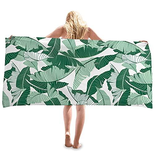 BANYANU Toalla De Playa, Serie De Plantas Verdes Portátiles De Moda Toalla De Playa Impresión Creativa Mantón Protector Solar Toalla De Secado Rápido Vellón De Doble Cara,K,70×35CM