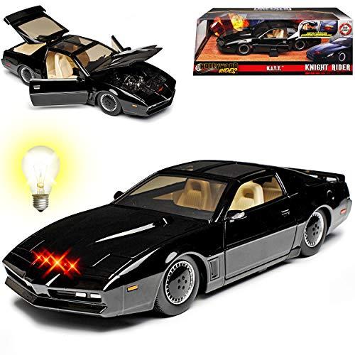 Pontiac Firebird Knight Rider KITT Mit Licht 1/24 Jada Modell Auto mit individiuellem Wunschkennzeichen