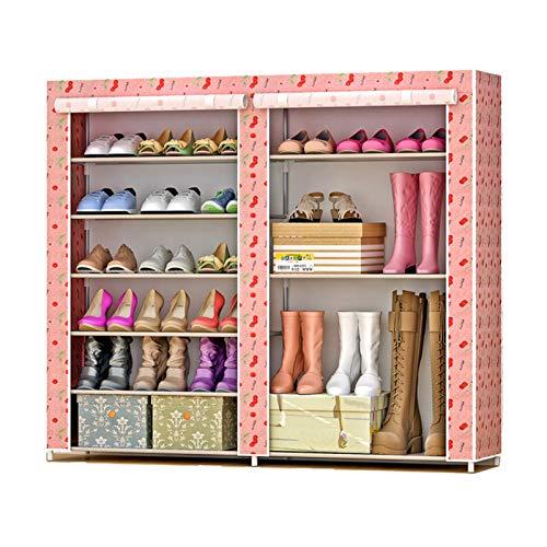 Jianghuayunchuanri Zapatero de doble fila, no tejido, zapatero, bolsa de almacenamiento, portátil, para encontrar fácilmente tus propios zapatos (color: cereza, tamaño: 120 x 30 x 108 cm)