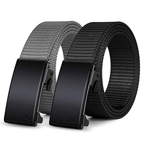 Nylon Ratchet Belt 2 Pack, Web Belts for Men Nylon Belt Automatic Slide Buckle