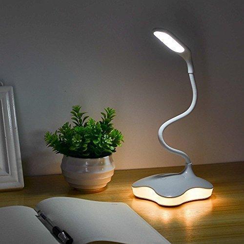 XIAOKOA Protección para los ojos Lámpara de mesa LED con luz nocturna y brillo de 3 niveles, control sensible al tacto, tubo giratorio, 14 LED (901)