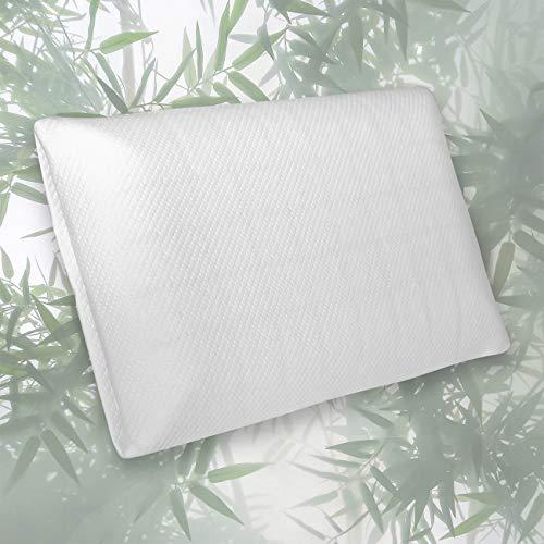 Orthopädisches Nackenstützkissen Bambuswisper   Memory Foam Kopfkissen 60 x 40   Ergonomisches Bamboo Visco Kissen mit abnehmbarem Bezug für Rücken- & Seitenschläfer   Ideal bei Nackenschmerzen