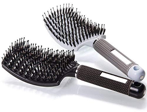Detangling Nylon Bristle Brush-Brosse à poil de sanglier,Meilleure pour démêlage de cheveux épais et démêlant pour séchage plus rapide (BLACK)