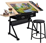 BBBuy MDF Drafting Draft Table Art & Craft Drawing Desk Folding Adjustable Craft Table w/Stool and 3 Storage Drawers (#3)