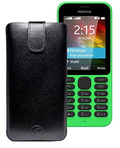 Original Favory Etui Tasche für Nokia 216 | 216 Dual SIM Leder Etui Handytasche Ledertasche Schutzhülle Hülle Hülle Lasche mit Rückzugfunktion* in Schwarz