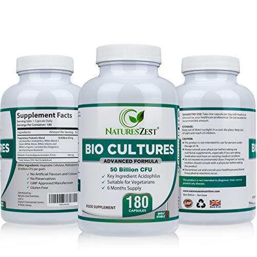 Natures Zest 50 Billion CFU Bio Cultures with Prebiotics 180 Capsules MAX Strength...