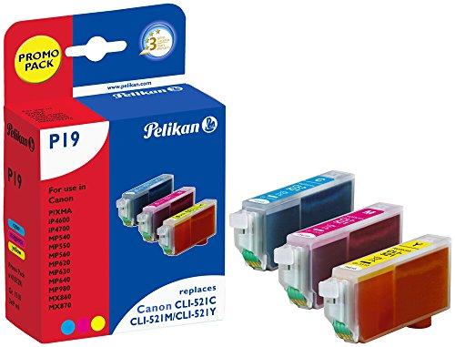 Pelikan P19 Druckerpatronen PromoPack (ersetzen Canon CLI-521C/CLI-521M/CLI-521Y) cyan, magenta, gelb