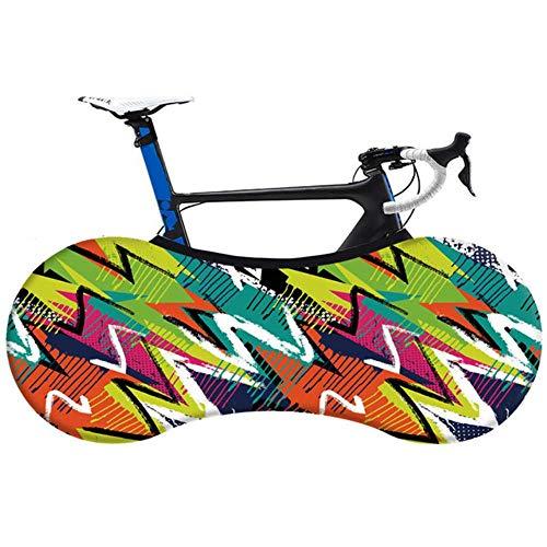 YRDDJQ Cubierta de Polvo de Interior de Bicicleta de Moda Tela Elástica Cubierta de Protección de Neumáticos de Bicicleta de Carretera MTB sin Decoloración, A