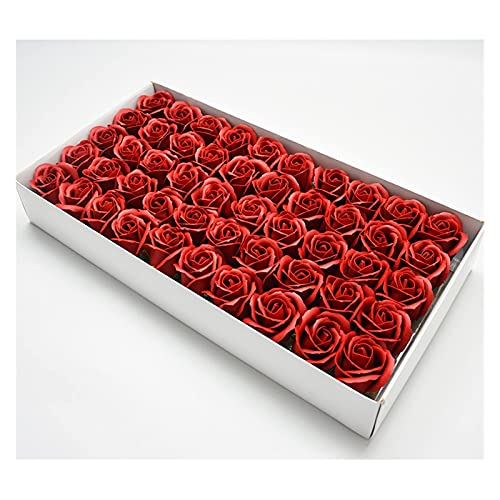 WYZQ Cabeza de Flor Artificial 50Pcs Flor Artificial Perfumada Flor de Rosa Jabón de Papel Pétalo Baño Jabón Corporal Flor de Rosa Sabor romántico Regalo de Fiesta de Bodas (Vino Tinto)