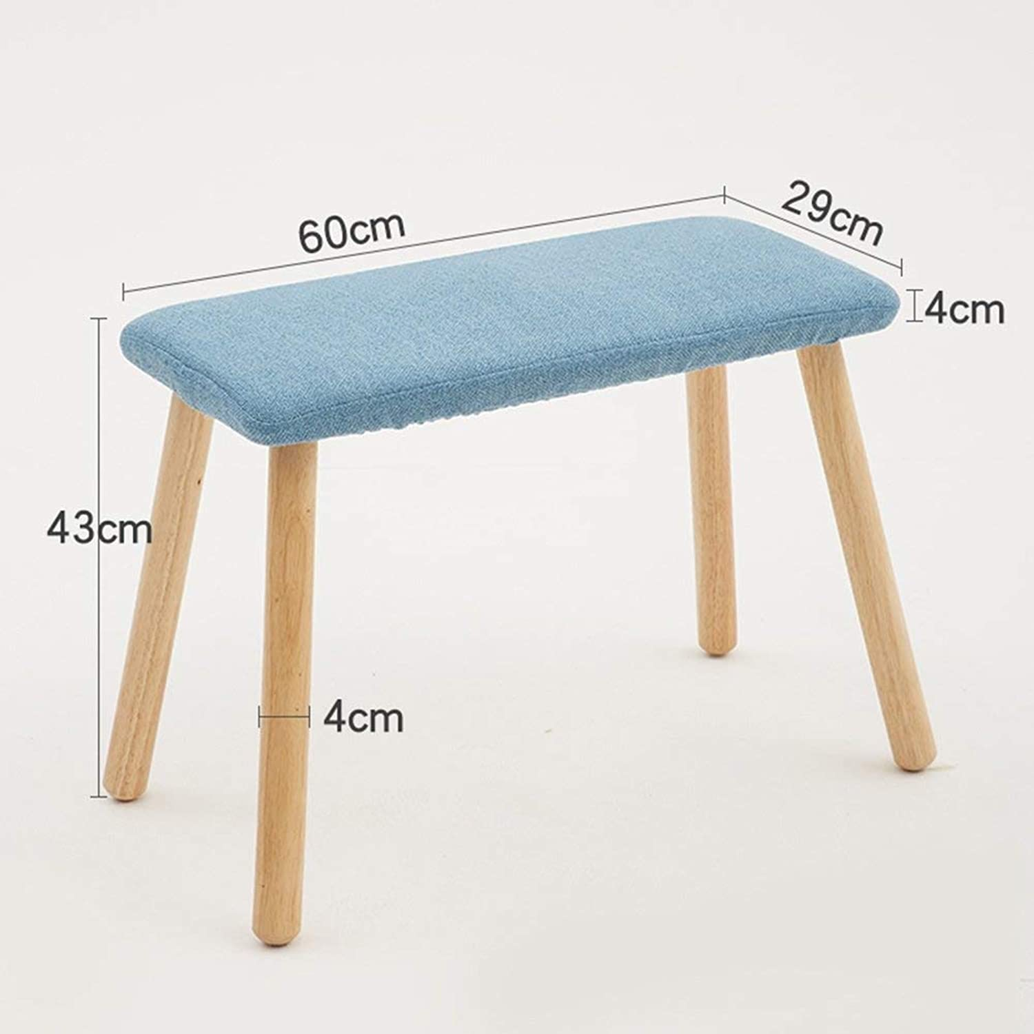 JZX Solid Wood Long Cotton Linen Washable Stool