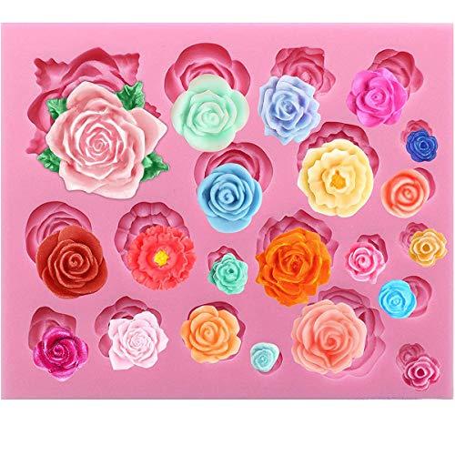 21 cavità rose torta stampo cucina fai da te argilla resina cottura strumenti decorazione cioccolato caramelle artigianato stampo