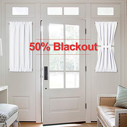 NICETOWN Pure White Curtain Panels for Door - 50% Sunlight Blocking Short Door Curtains Side Light Sliding Door Drapes (2 Panels, 40 inches Long)